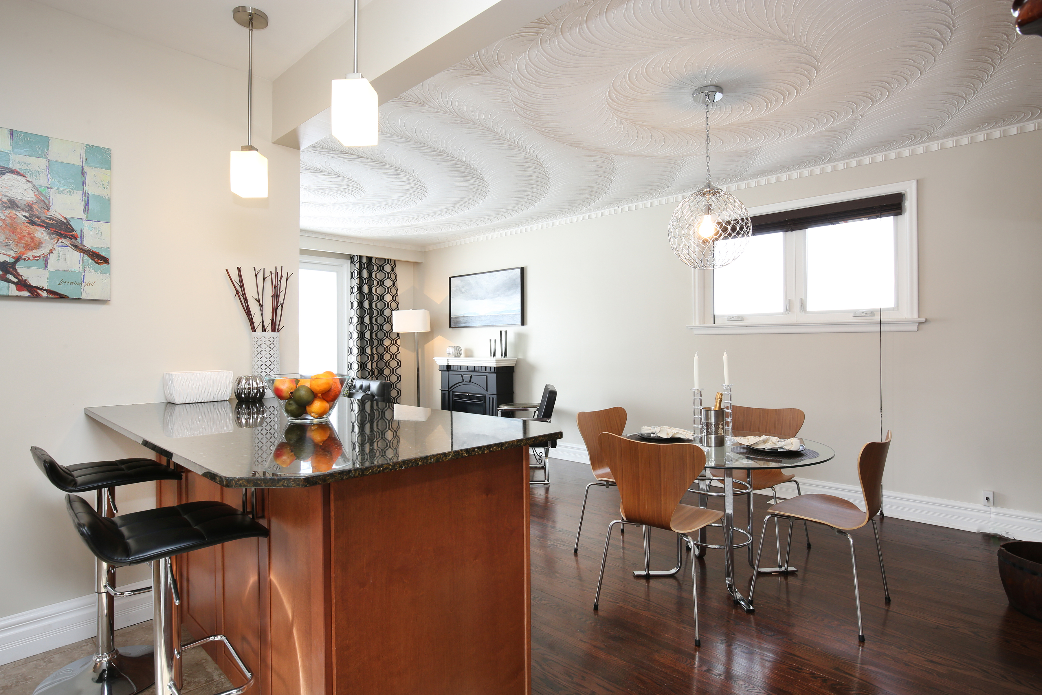 kitchen island and dining